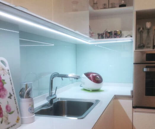 iluminación de encimeras con tiras de luz led