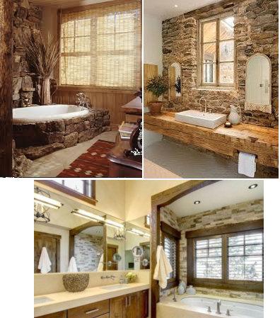 diferentes estilos de iluminación en baños rústicos